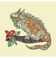 Hand drawn iguana vector