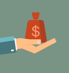 hand holding money bag vector image