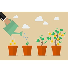 Hand with can watering money tree vector image