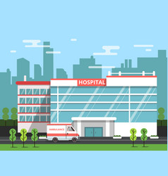 Health center exterior of hospital building vector