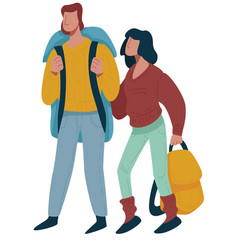 Hikers couple or backpackers man and woman vector