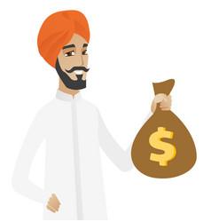Hindu businessman holding a money bag vector