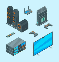 home entertainment isometric console for games tv vector image
