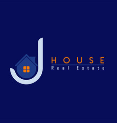 house letter j logo template design vector image