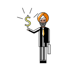 Indian businessman with dollar sign in hand vector