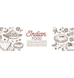 indian food and cuisine various dishes graphic vector image
