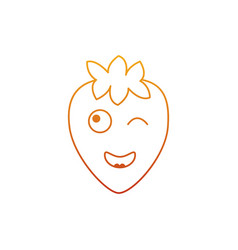 kawaii strawberry fruit cartoon character vector image