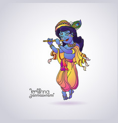 Krishna janmashtami greeting card colorful vector