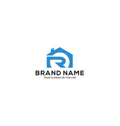 Letter r and home logo design vector