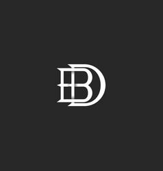 Letters bd logo monogram hipster mark for wedding vector