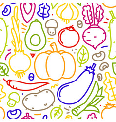 Lineart flat style vegetables seamless vector