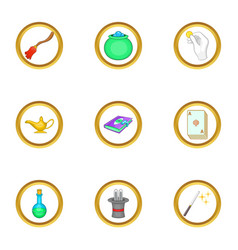 Magic items icons set cartoon style vector