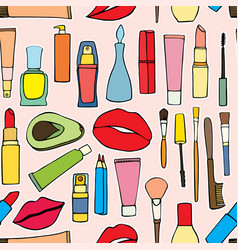 makeup items patch badges vector image