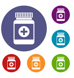 Medicine bottle icons set vector
