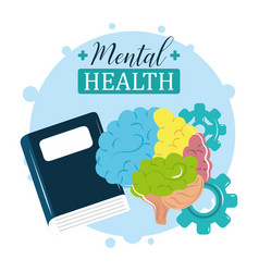 Mental health day colored brain treatment reading vector