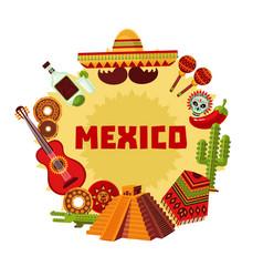 Mexico icons round concept vector