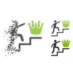 moving pixelated halftone person steps to crown vector image
