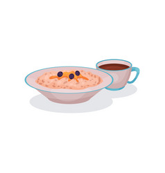 Oatmeal porridge with blueberries and cup of tea vector