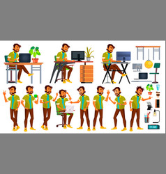 office worker indian emotions various vector image