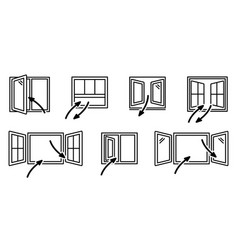 Open windows and air exchange set vector