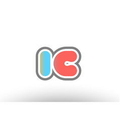 Orange pastel blue alphabet letter ic i c logo vector