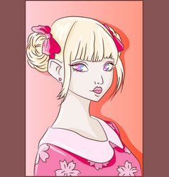 pink anime girl with cute kawaii kimono and ribbon vector image