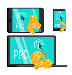 ppc pay per click device and coins set vector image