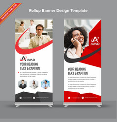 Professional red and grey rollup banner with vector