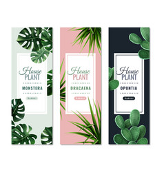 Realistic house plants vertical banners vector
