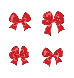 Red shiny gift bows collection vector