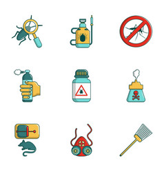 Remedy from insects icons set cartoon style vector