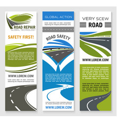 Road construction repair safety banner template vector