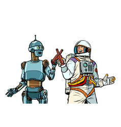 robot and astronaut drink beer together vector image