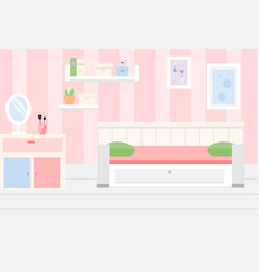 Room interior apartment in pink colors and white vector