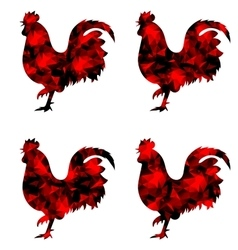 Rooster triangular geometric polygonal roosters vector image
