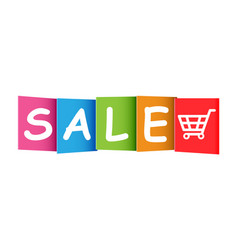 sale colorful card on white background discount vector image