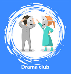 School drama club kids acting roles on stage vector