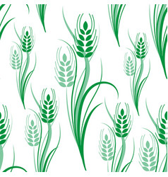 Seamless pattern with green wheat spikelets vector