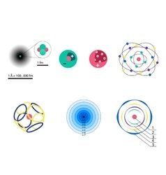 Set 8 different visions an atomic model from vector