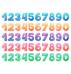 set color cartoon numbers rainbow candy and vector image