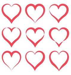 set heart contours different shapes heart vector image