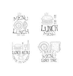 set monochrome lunch menu logos vector image