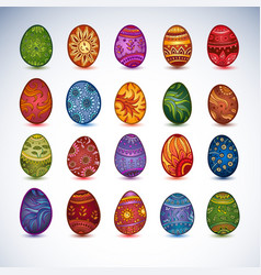 set of easter bright eggs isolated vector image
