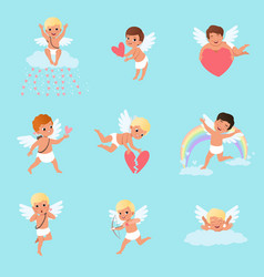 Set of little cupids in different actions cartoon vector