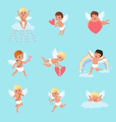 Set of little cupids in different actions cartoon vector
