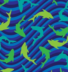 sharks on wave vector image