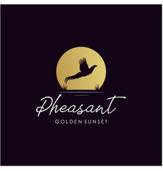 silhouette pheasant logo design with golden vector image
