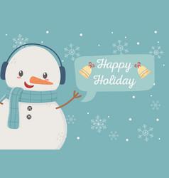 snowman celebration happy christmas poster vector image