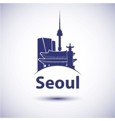 South Korea Seoul city skyline silhouette vector image