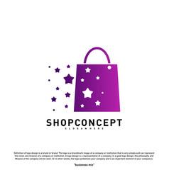 star shop logo design concept shopping center vector image